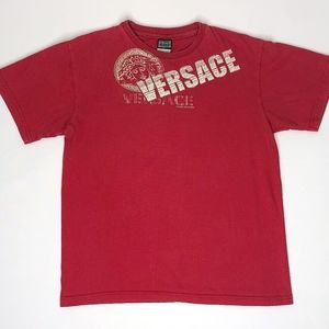 VERSACE Red Short Sleeve Crew Neck T Shirt Vintage